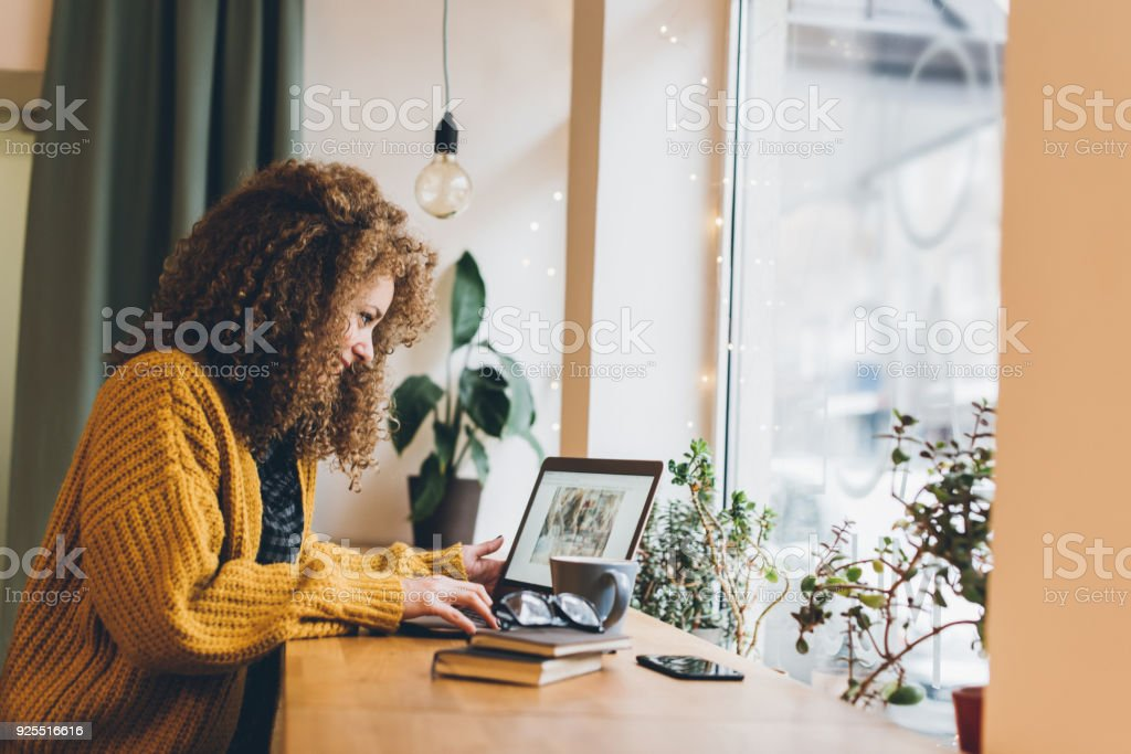 Young woman working on a laptop - Royalty-free 20-29 Years Stock Photo