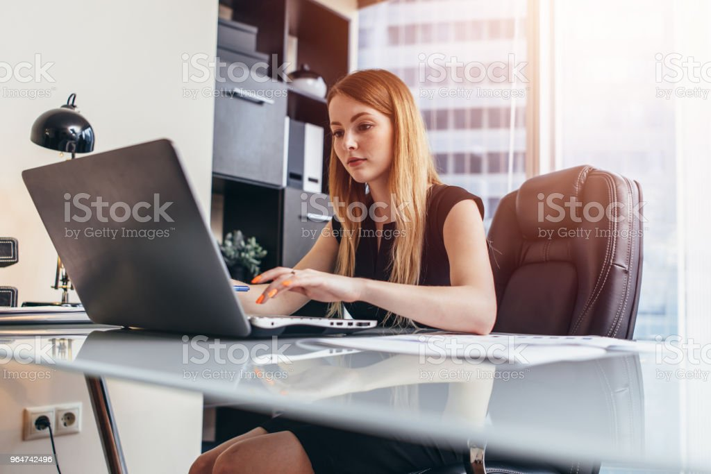 Young woman working on laptop studying financial data and statistics of the company royalty-free stock photo