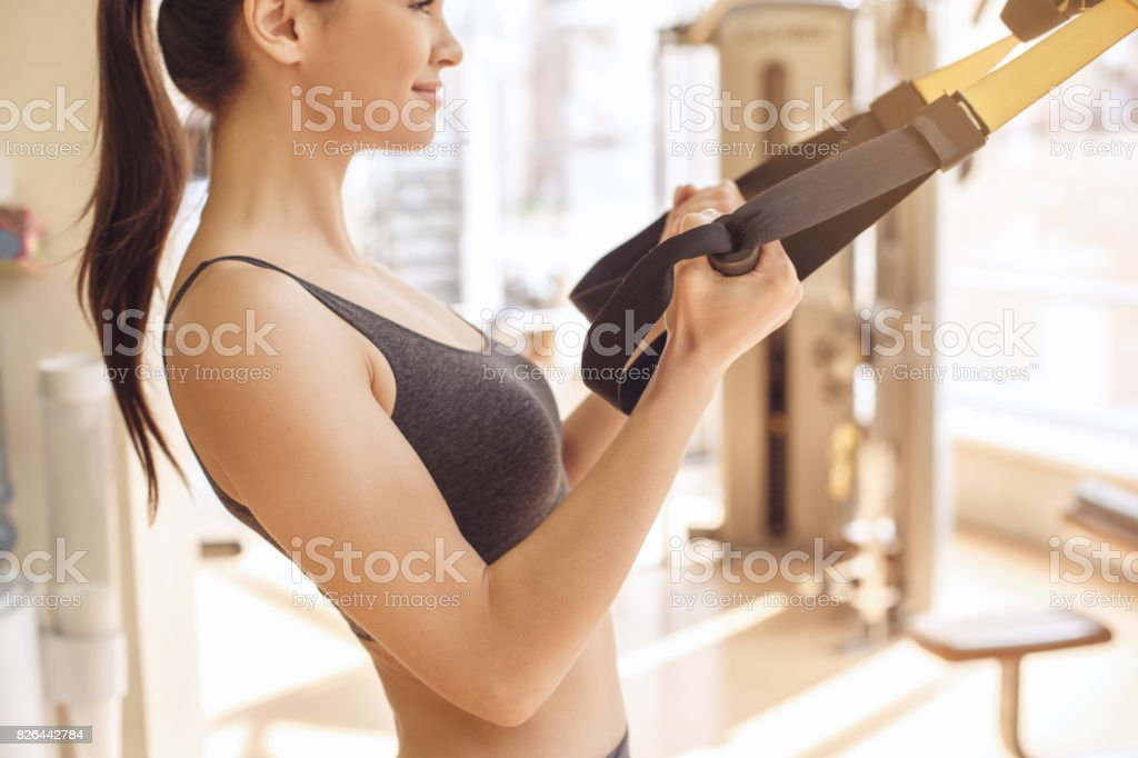 Young woman workout in gym healthy lifestyle stock photo