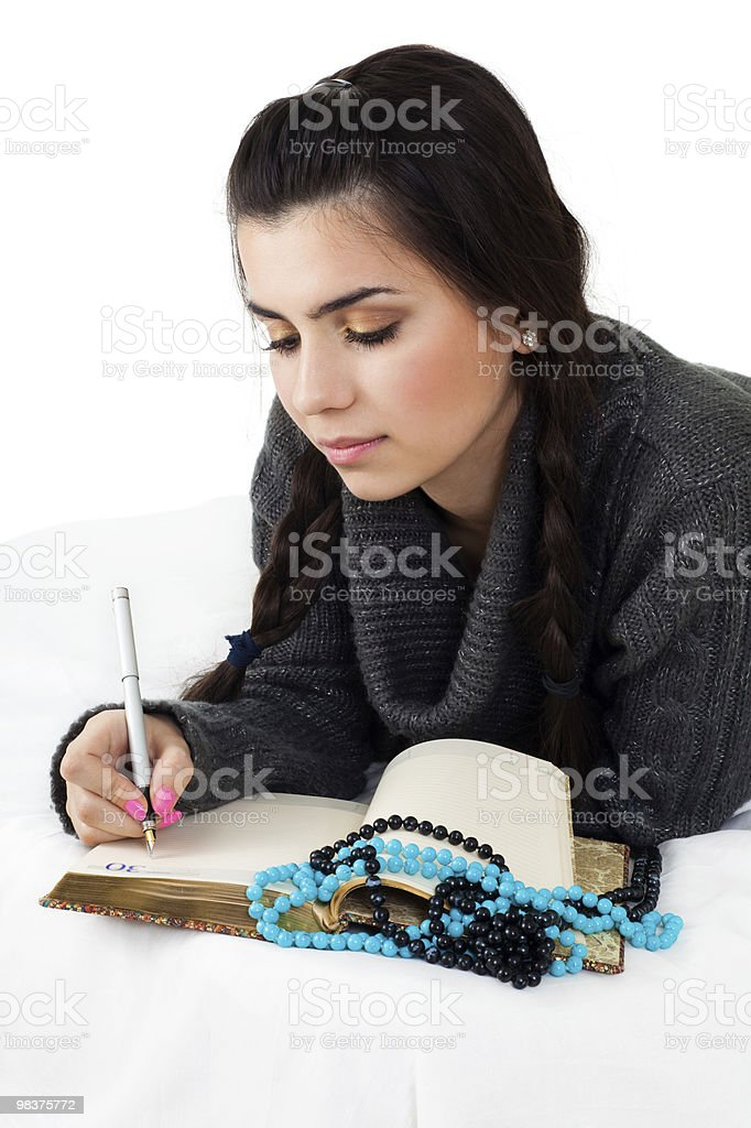 young woman write memories royalty-free stock photo