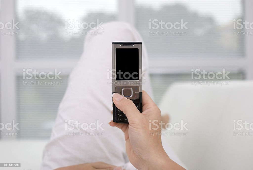 Young woman writing a message royalty-free stock photo