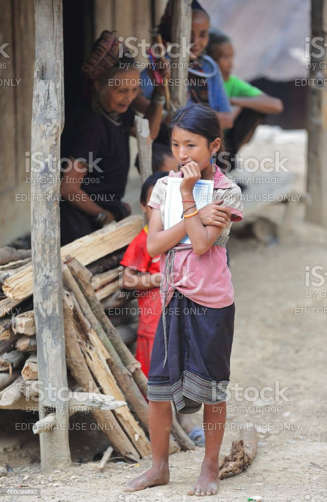 Young woman-Akha Pala hill tribe-Pak Nam Noy area-Phongsali province-Laos. 3788 stock photo