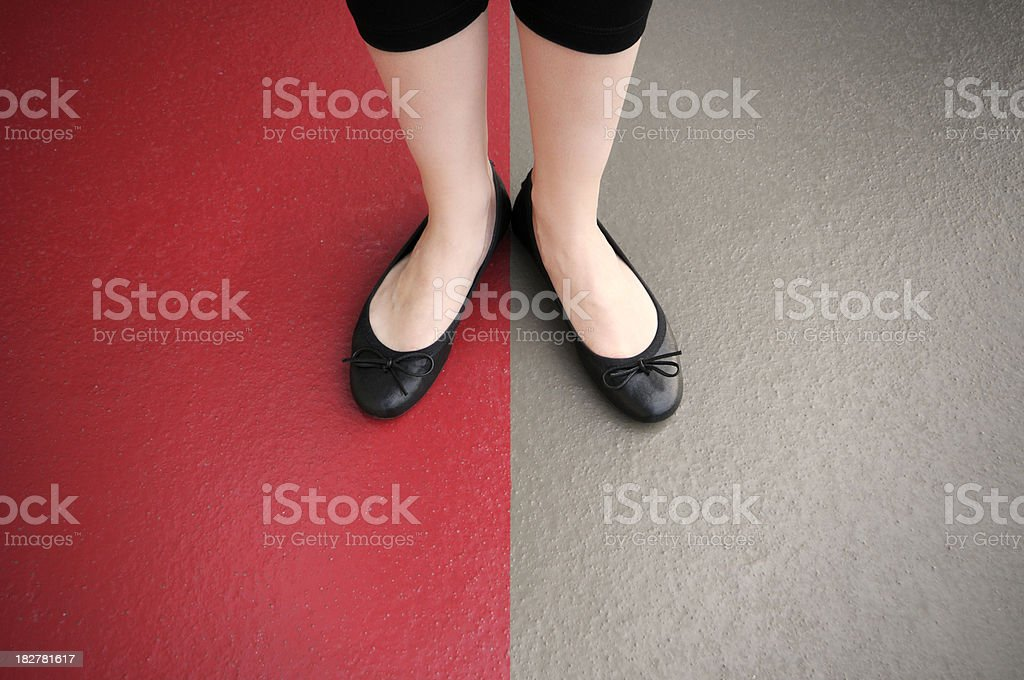 Young Woman's Feet in Firm Stance stock photo