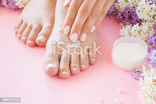 istock Young woman's hands applying perfect groomed feet with moisturizing natural cream. Care about clean, soft, smooth skin. Beautiful branches of colorful lilac. Fresh flowers on pastel pink background. 969762220