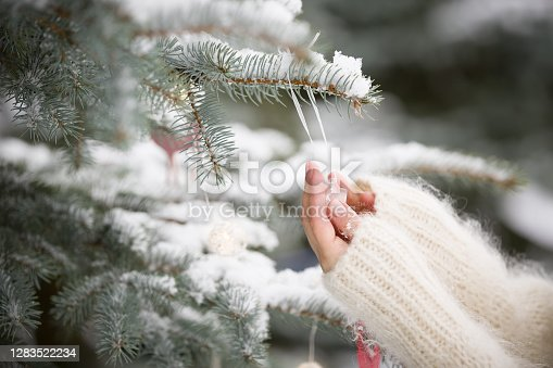 Young woman's hands decorating Christmas tree with crystal star decor. Traditional celebration. Winter, holidays season and Christmas concept.