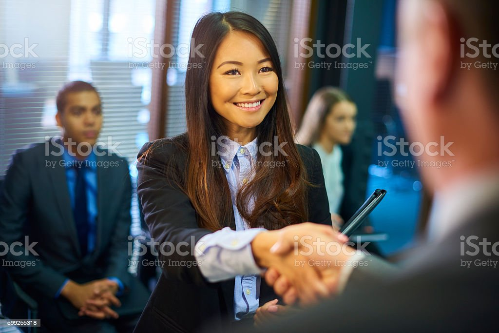young woman's job interview stock photo