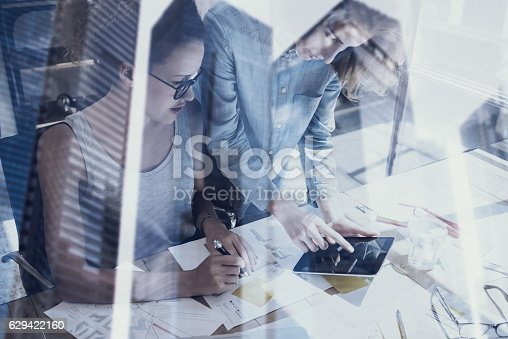629421870 istock photo Young womans working in modern design studio.Two girls using 629422160