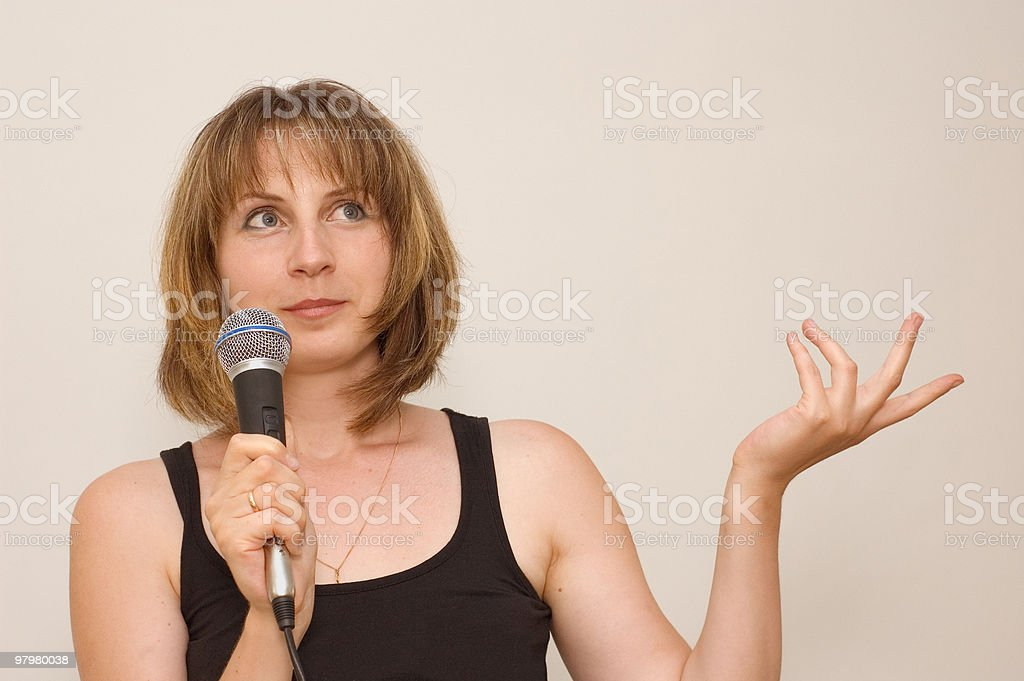 young woman-speaker royalty-free stock photo