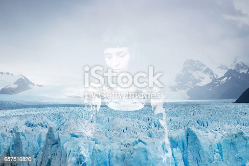 istock Young women and frozen iceberg double exposure 657516820