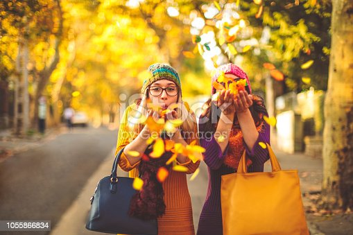 Young women are having fun in the city - autumn mood