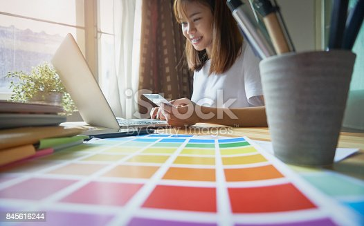 861940002 istock photo Young women are shopping online on laptop in my home. By credit card payment. Modern technology concept makes life easy, vintage effect. 845616244