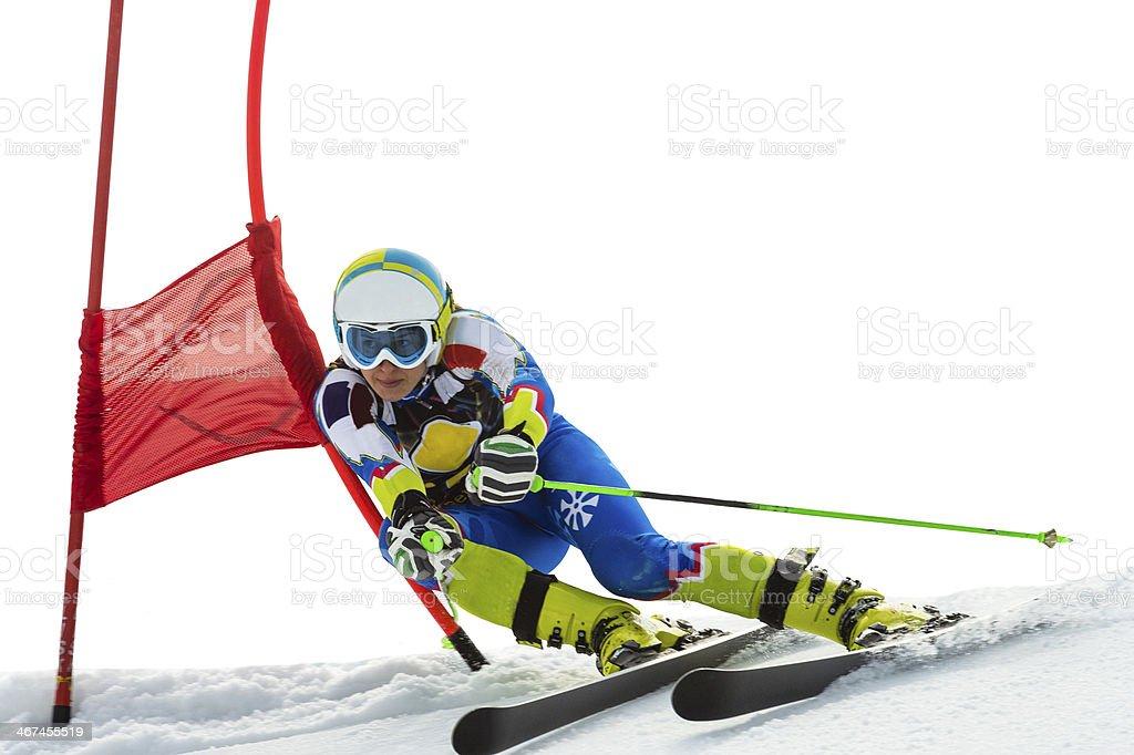 Young Women at Giant Slalom Ski Race on White Background stock photo