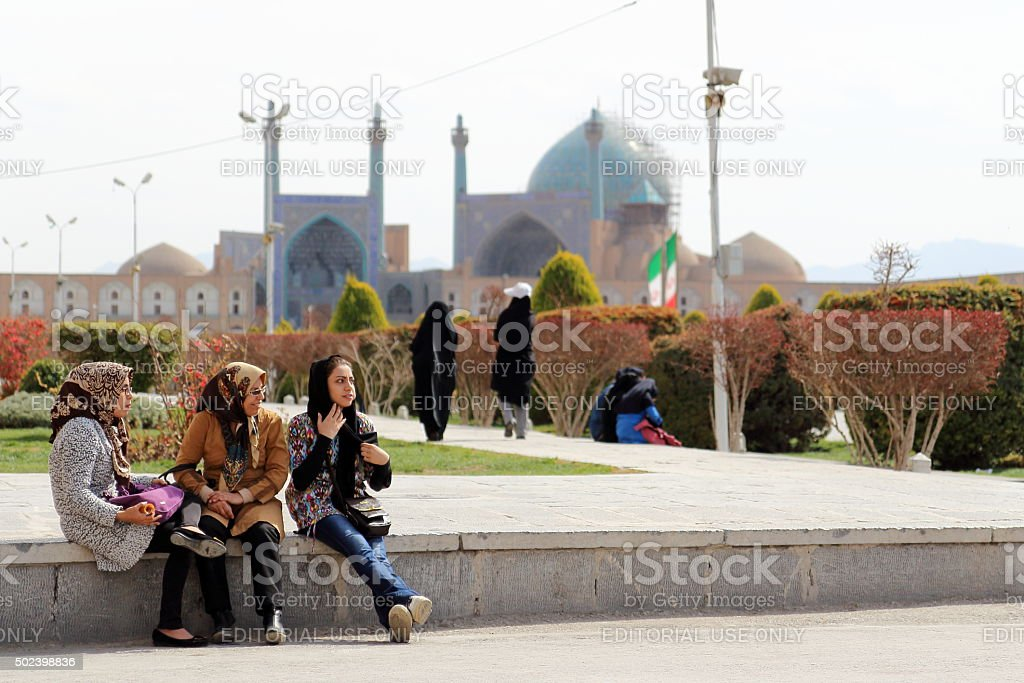 Young women at Naghsh-e Jahan Square, Isfahan, Iran stock photo