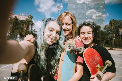 A group of young adult friends enjoy take a break from skateboarding at the park to pose for a portrait.  Shot in Los Angeles California.