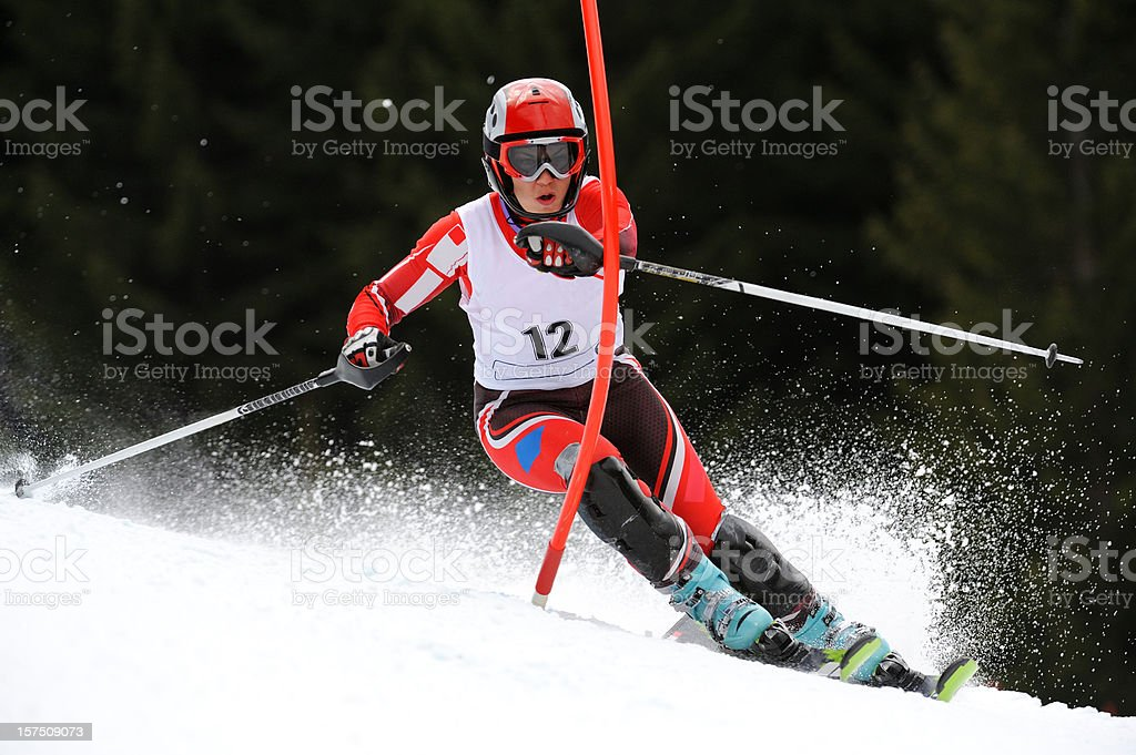 Young women at slalom ski race stock photo