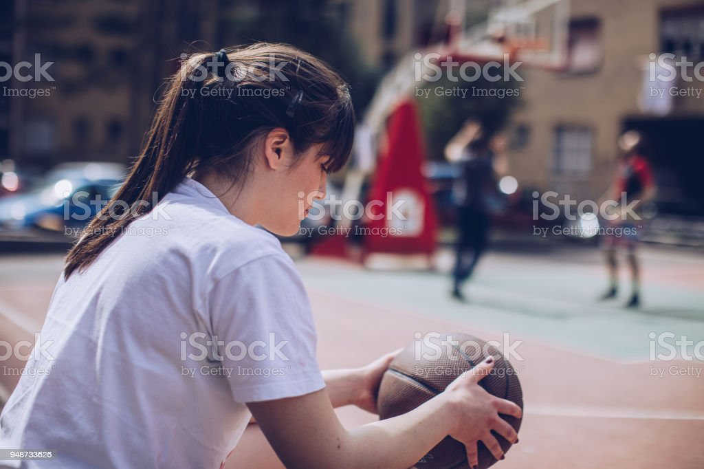 Young women basketball player stock photo