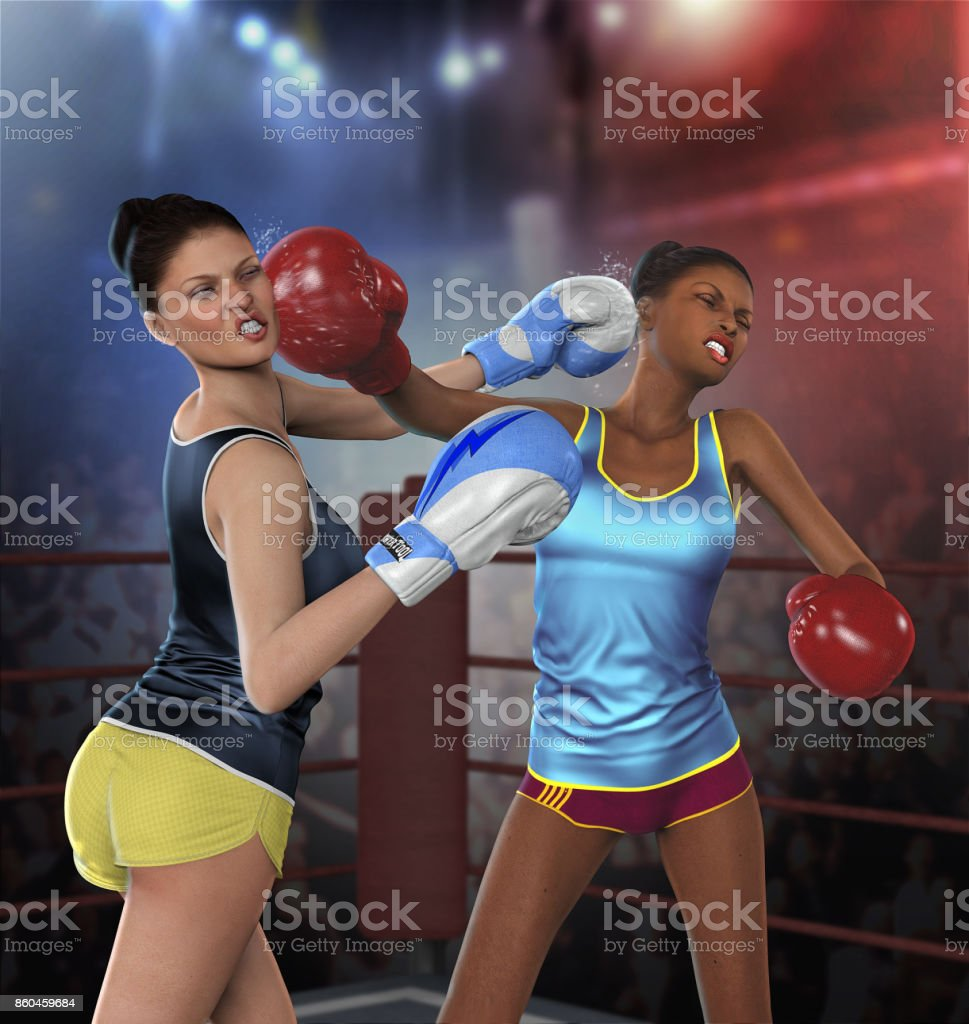 Young Women Boxing Fight stock photo