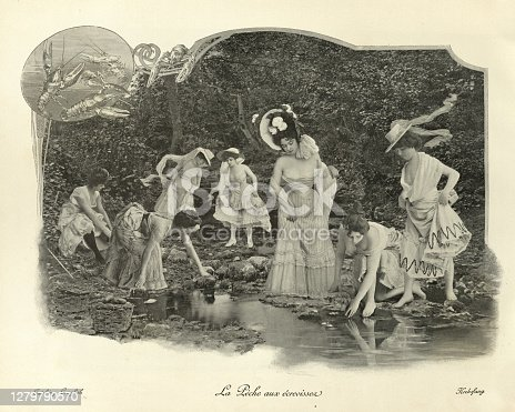 Antique photomontage photograph, Young women catching crayfish in wooldand stream, Victorian, 19th Century.
