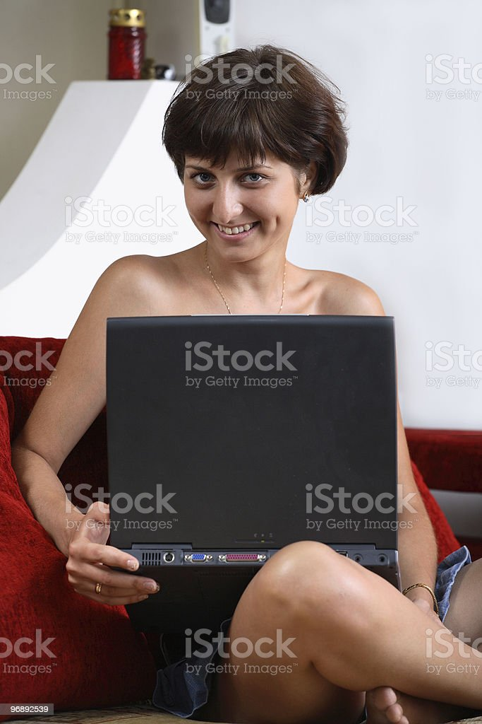 Young women end laptop royalty-free stock photo