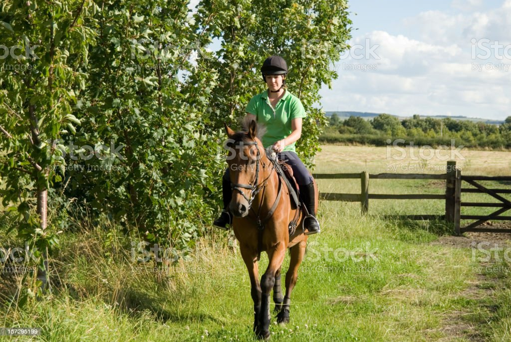 Young women enjoying countryside with her horse stock photo