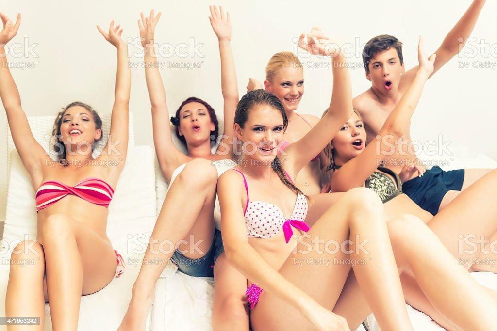 Young women enjoying in health spa stock photo