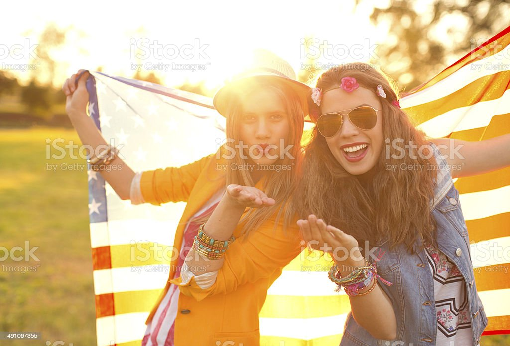 Young women enjoying outdoors. royalty-free stock photo
