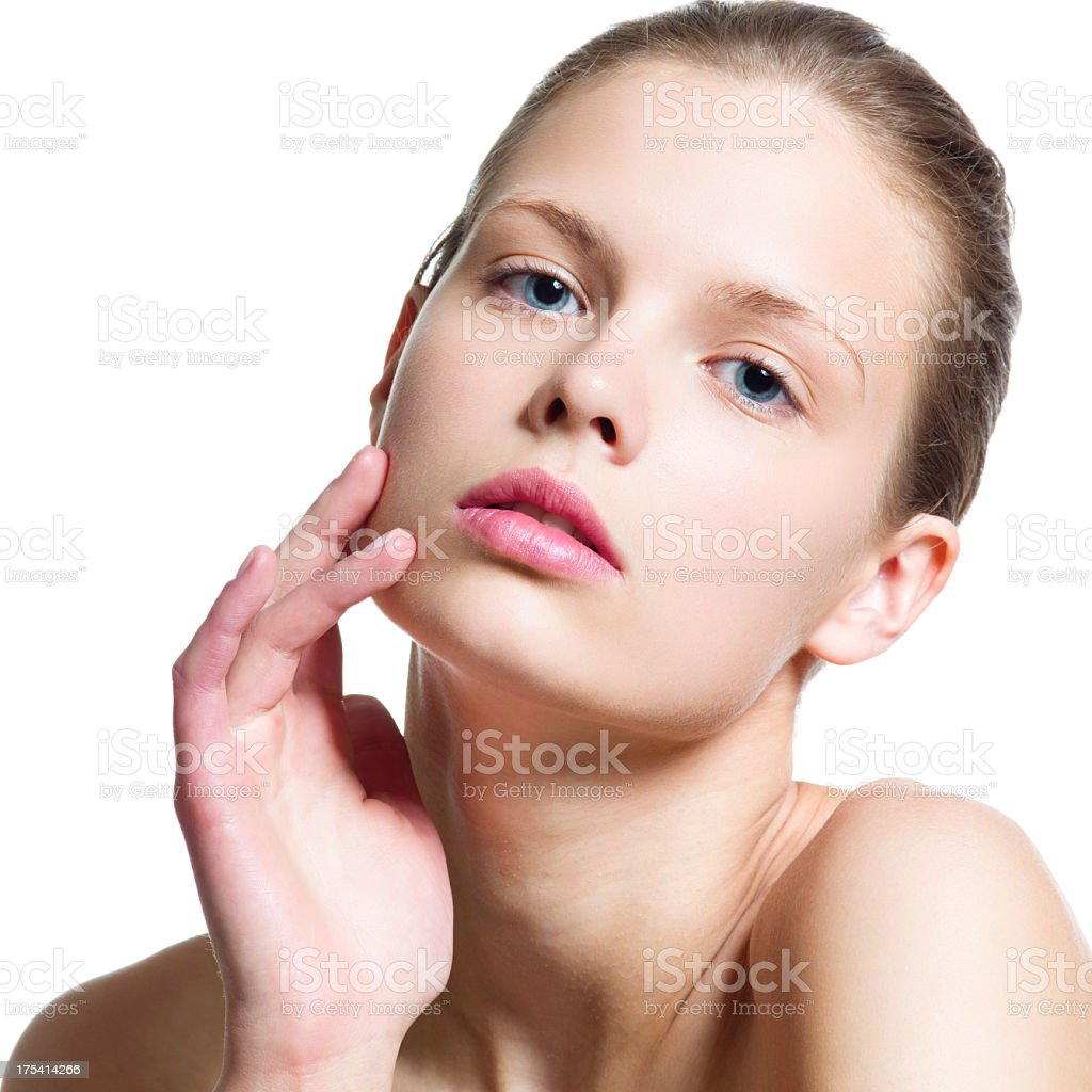 Young Women face on white stock photo