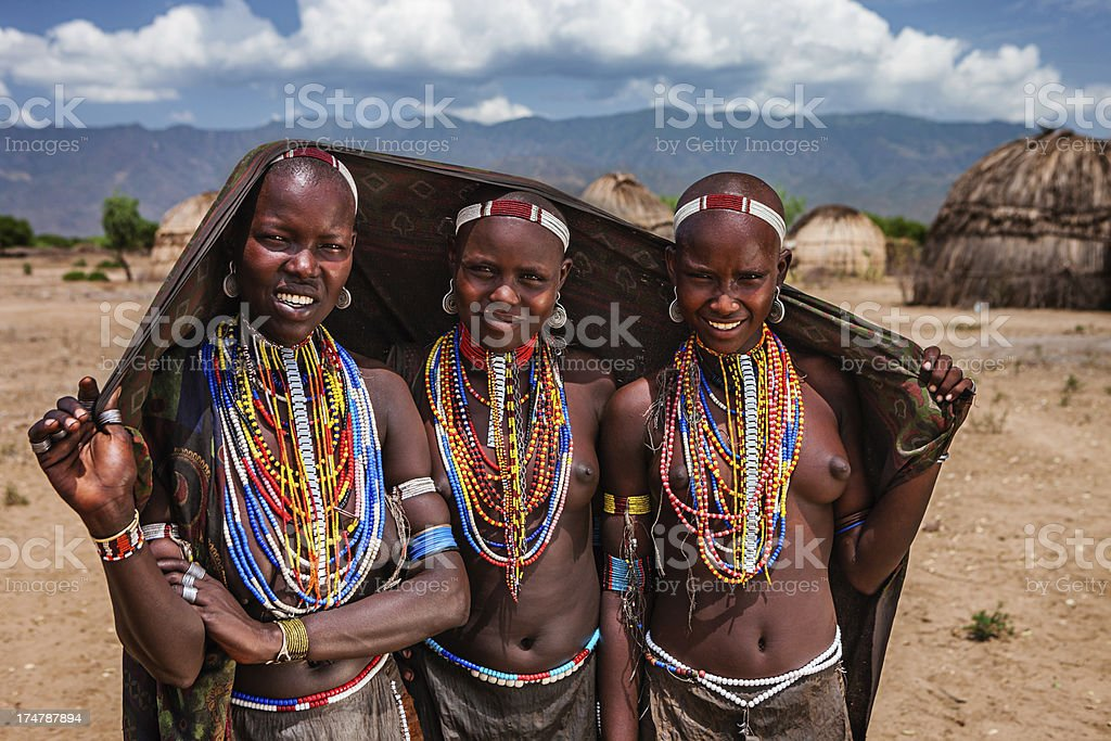 Young women from Erbore tribe, Ethiopia, Africa royalty-free stock photo