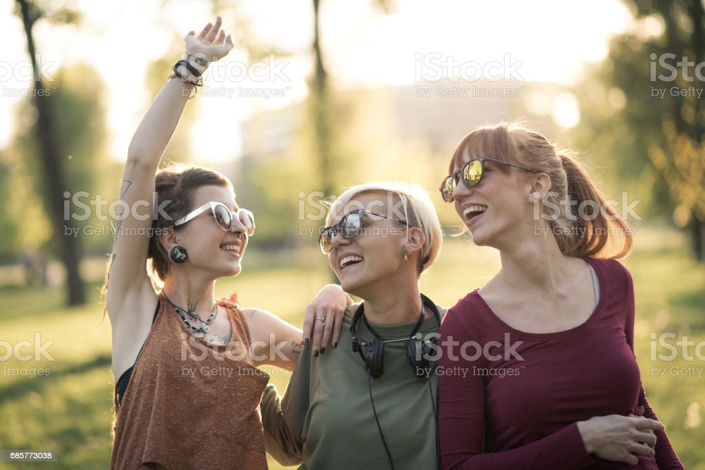 Young women go party together royalty-free stock photo
