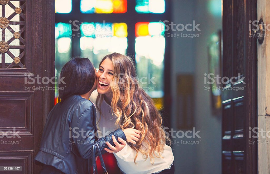 Young women greeting at building entrance stock photo
