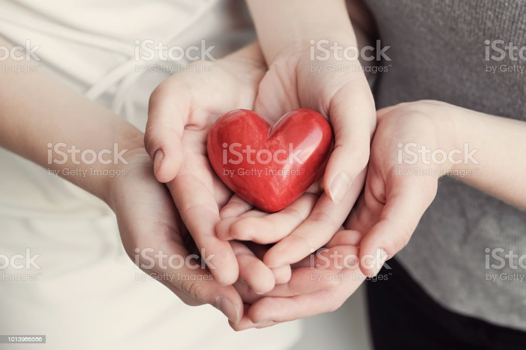 Young women holding red heart, health insurance, donation concept stock photo