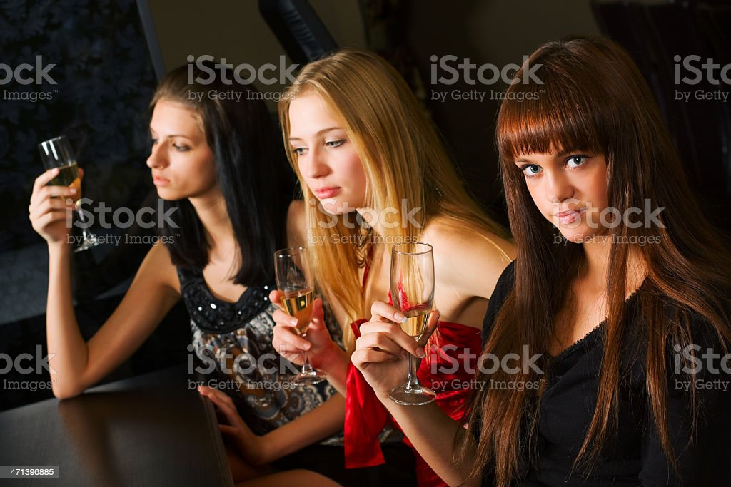 Young women in a night bar royalty-free stock photo