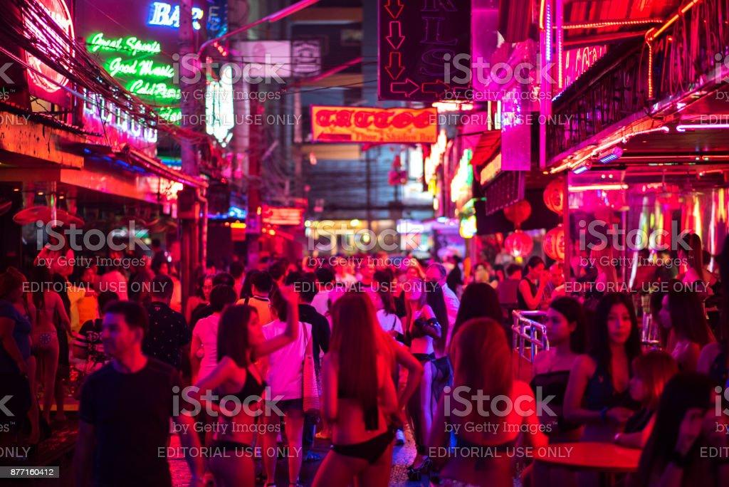 Young women in bikini in Soi Cowboy, Bangkok stock photo