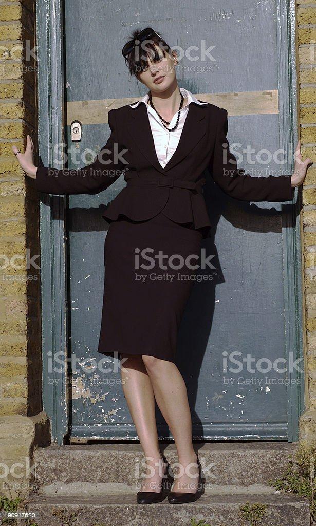 young women in doorway stock photo
