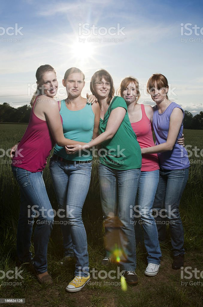 Young women in field royalty-free stock photo