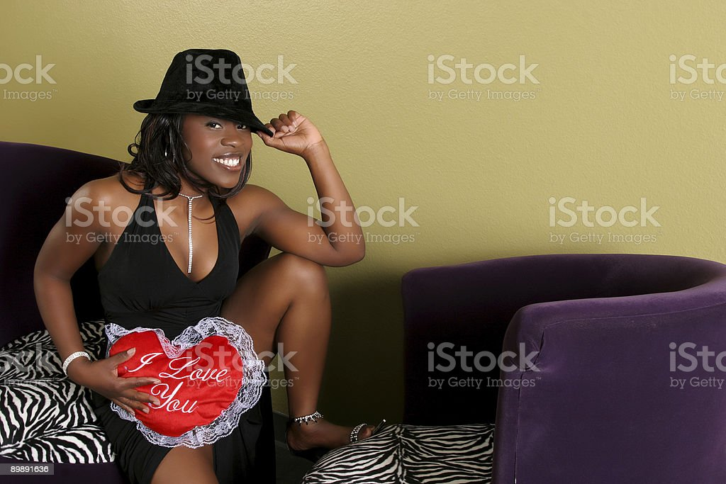 Young women in love waiting for her date royalty-free stock photo