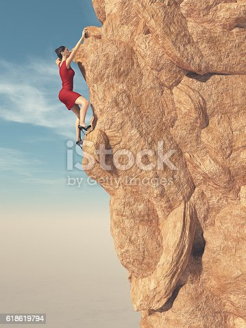 istock Young women in red dress and high heels climber 618619794
