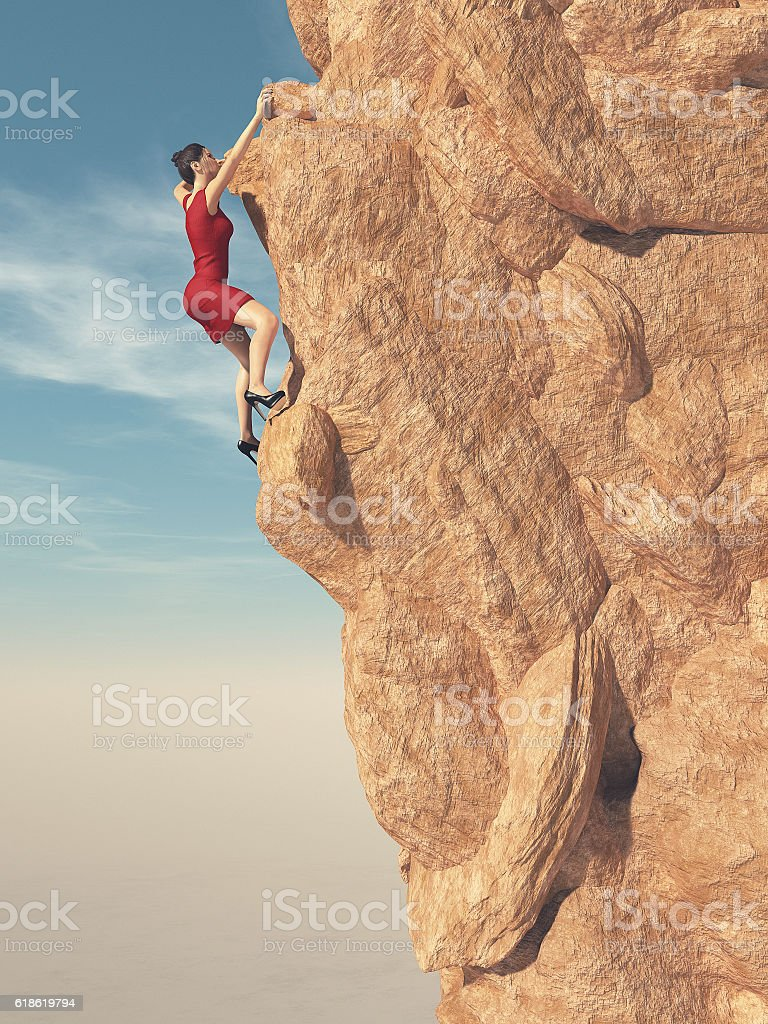 Young women in red dress and high heels climber stock photo