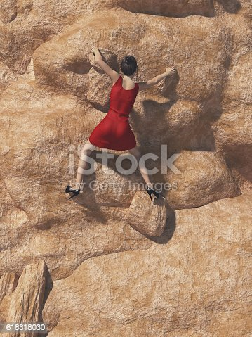 istock Young women in red dress and high heels 618318030