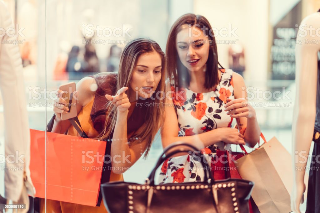 Young women in the shopping mall royalty-free stock photo