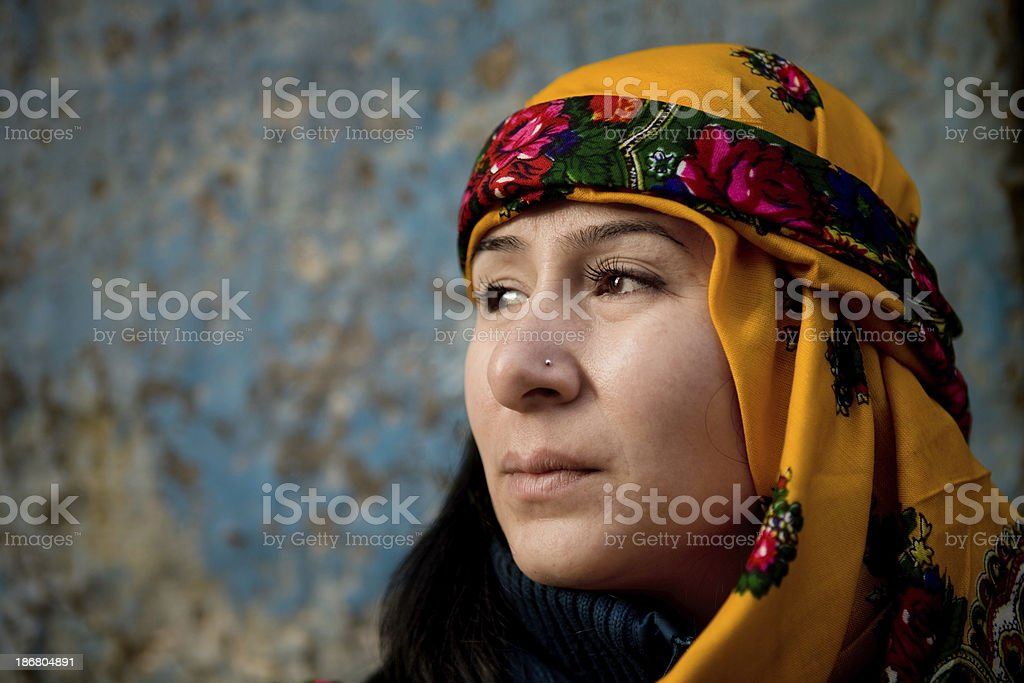 Young women in traditional clothing stock photo