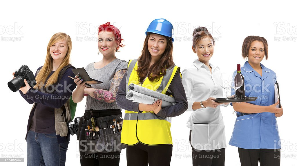 young women jobs group stock photo