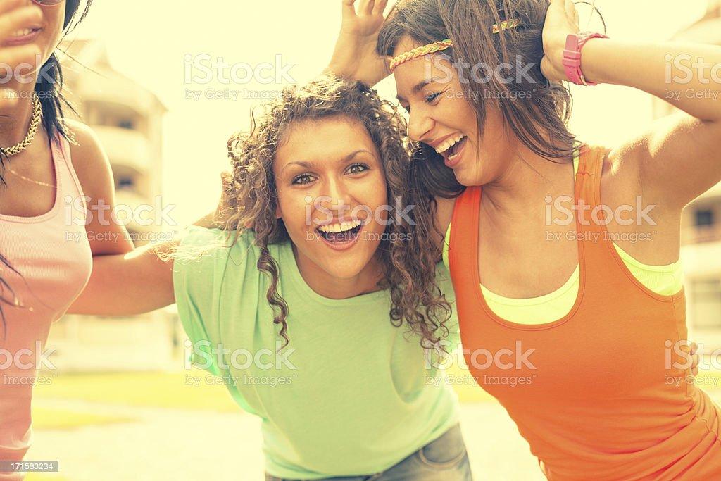 Young women joy outdoors stock photo