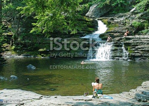 Long Valley, New Jersey, USA--June 2, 2007: People enjoy a natural pool on a warm day in late spring in Hacklebarney state park in New Jersey.