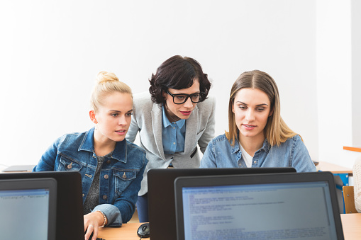 Young Women Learning Computer Programming Stock Photo - Download Image Now
