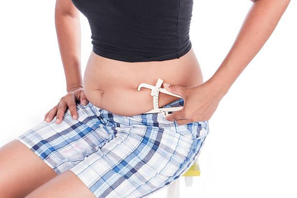 Young Women Measuring Fat Belly With Fat Caliper - foto de acervo