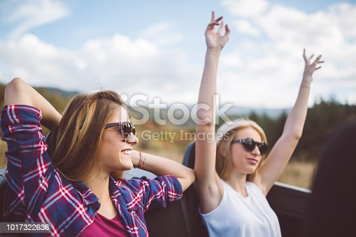 1131372580 istock photo Young women on a road trip with cabriolet 1017322636