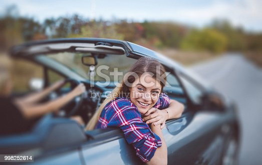 1131372580 istock photo Young women on a road trip with cabriolet 998252614