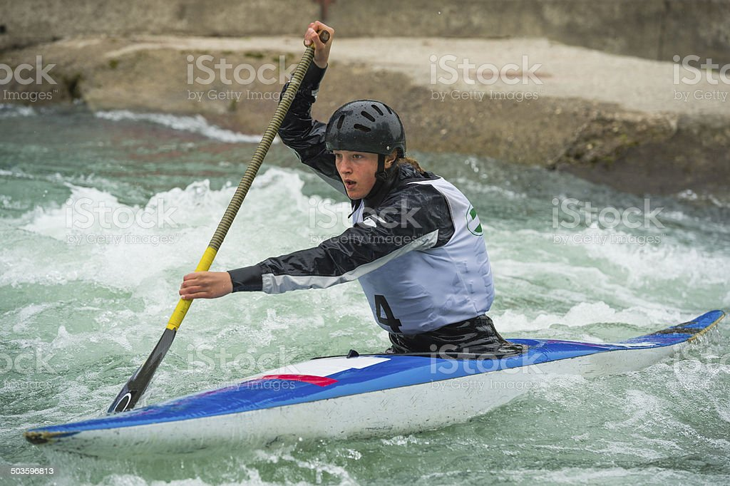 Young Women on Wild Water During the Race stock photo