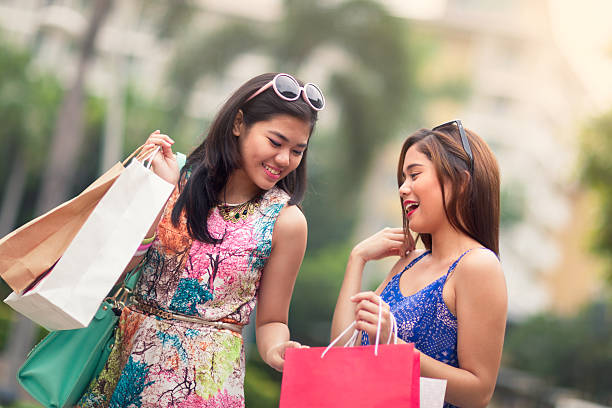 young women out shopping - philippines girl stock photos and pictures